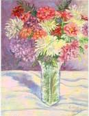 Chrysanthemums in a glass vase, Item 7