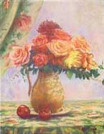 Roses with Apples on a Green Tablecloth