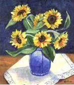 Sunflowers in a Blue Vase, Item 13
